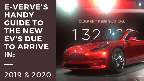 E-Verve Energy blog on new EV's and EV charging red tesla shown