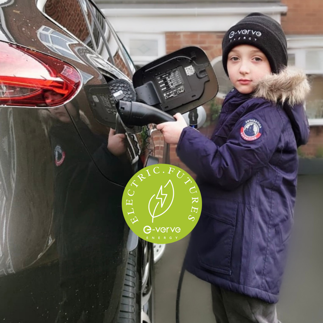 e-verve energy junior charging an ev for an electric futures challenge, green energy for kids, eco kids, electric cars learning for kids, renewable energy activities for kids